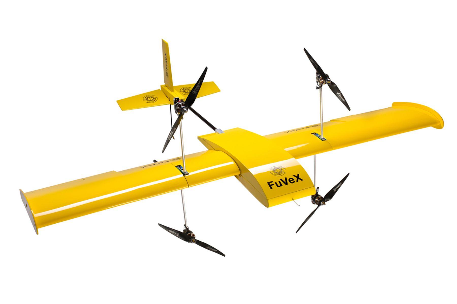 El dron diseñado por FuVeX, que aterriza y despega como un helicóptero y vuela como un avión.