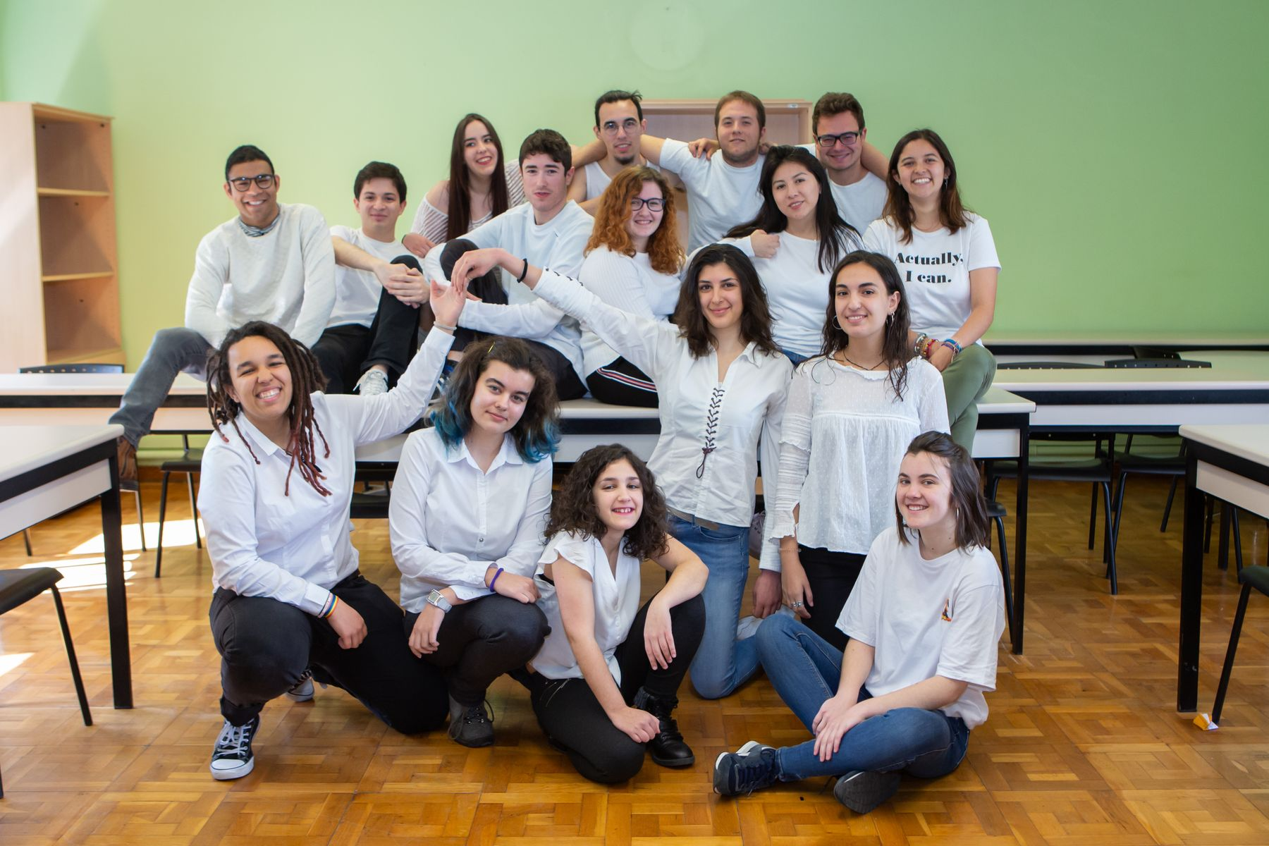 El Grupo de Teatro de la UPNA, durante un ensayo en el campus de Arrosadia