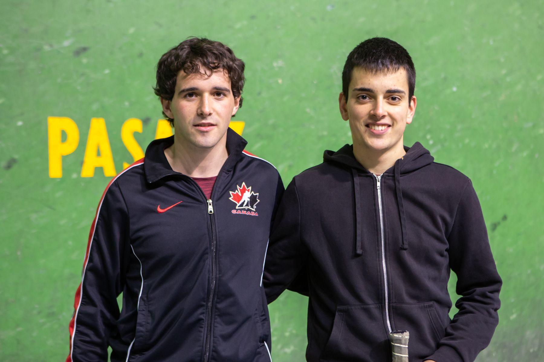 Frontenis. Campeones: Álvaro Blasco Álvarez de Eulate (izq.) y Rubén Antonio Alcoz Echeverría (estudiantes ambos de Ingeniería Mecánica).