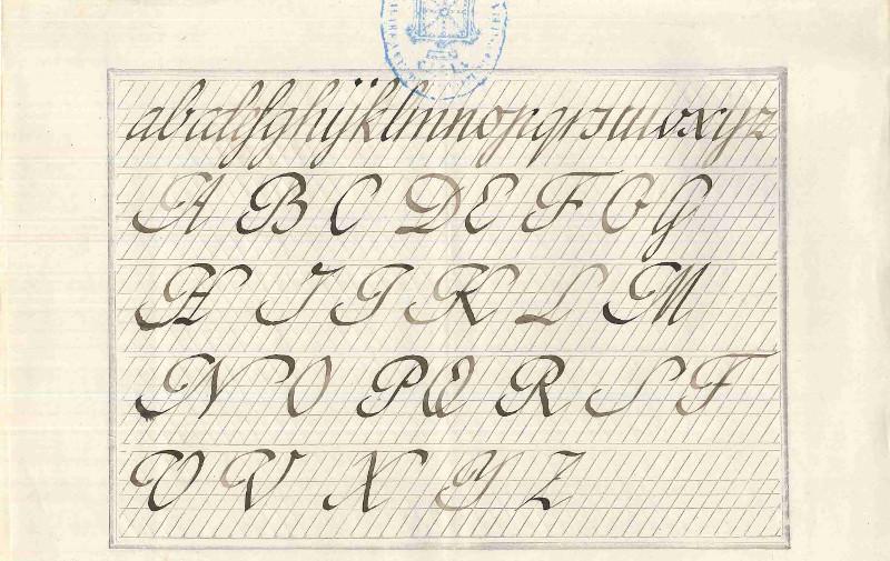Examen de caligrafía de 1890.