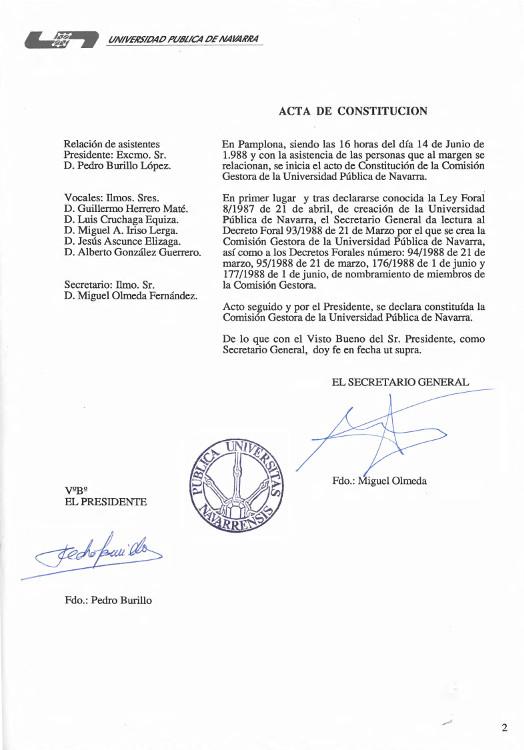 Acta de constitución de la Comisión Gestora de la Universidad Pública de Navarra 1988.