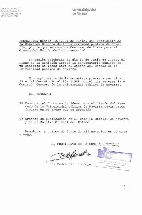 Convocatoria del concurso para el diseño del Escudo de la Universidad Pública de Navarra 1988.