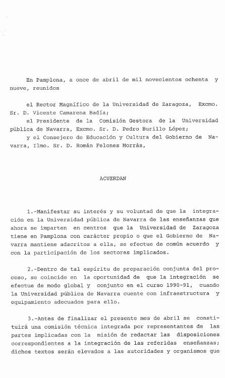 Acuerdo de integración de las Escuelas Universitarias de Navarra adscritas a la Universidad de Zaragoza 1989.