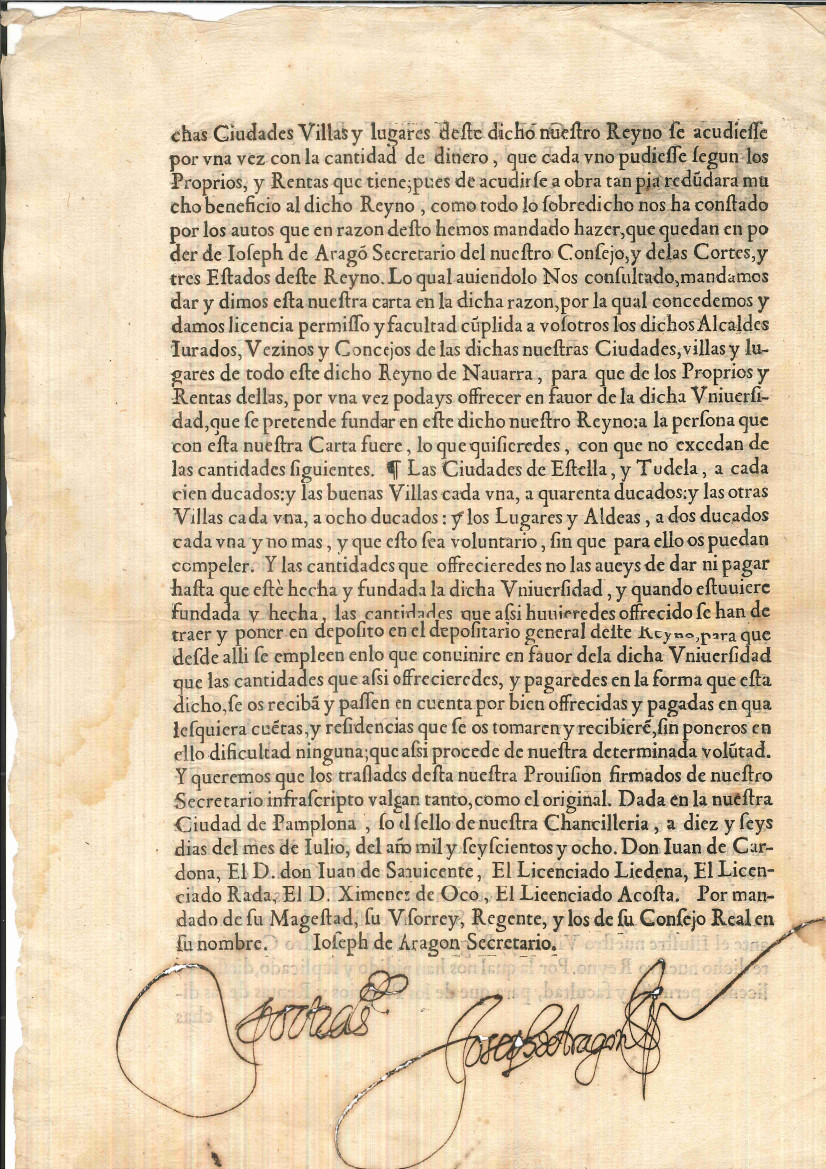 Real Provisión del Virrey de Navarra y del Consejo Real, por la que se concede una licencia para contribuir económicamente a la creación de una Universidad en Pamplona. Documento depositado por Sixto Jiménez Muniáin.