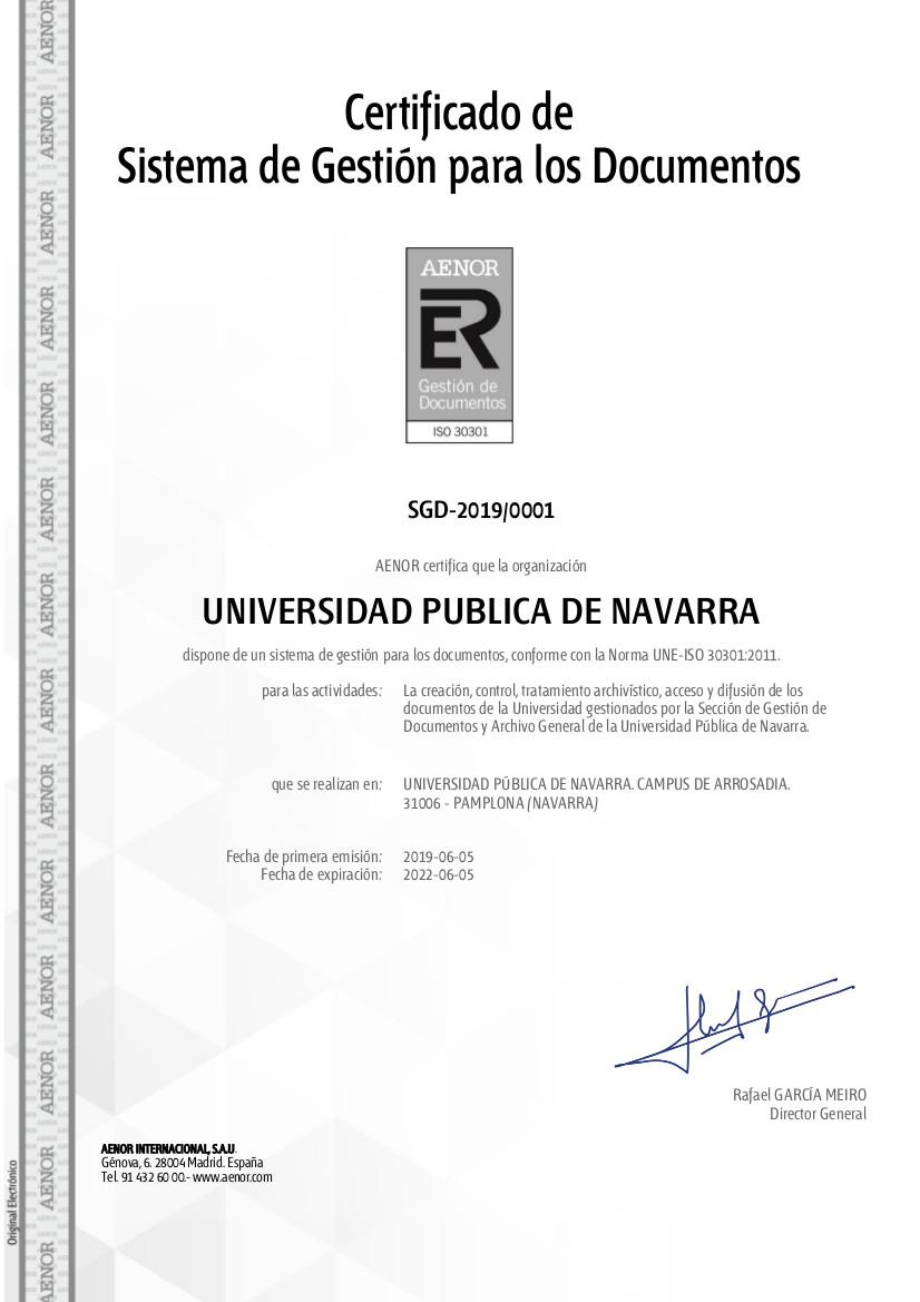 Certificado ISO 30301